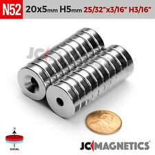 20mm X 5mm Hole 5mm Strong N52 Countersunk Ring Rare Earth Neodymium Magnet