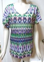 Chico's Short Sleeve Embellished Chevron Print Top, Multi-Color, Size 1 (M 8/10)