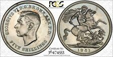 1951 GREAT BRITAIN FIVE SHILLINGS PCGS PL64  LIGHTLY COLOR TONED COIN