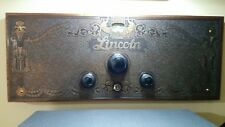 Vintage LINCOLN Vacuum Tube Radio copper edged front face panel plate ca. 1919