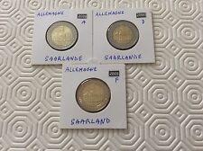 3 pièces Allemagne de 2 € commémoratives 2009 Saarland Ateliers ADF
