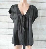 Cue Top Blouse Shirt Size 12 Medium Black Brown Short Sleeve Button Front Satin