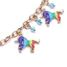 Girls Unicorn Bracelet Charm Fashion New Free Ship Kids Rainbow Jewelry CS