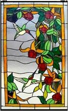 """32"""" x 20 Dragonfly Floral Tiffany Style Stained Glass Window Panel w/ Chain"""