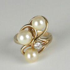Vintage 14K Diamond and Pearl Ring - .25 Old European Cut