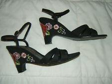 Vintage Women'S Andrew Geller Black Embroidered Ankle Strap Sandal Heels 7.5N