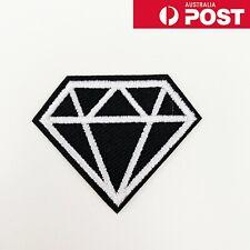 BLACK /& WHITE ASYMMETRIC DIAMOND Embroidered Iron on Patch Free Postage