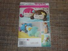 Simplicity sewing pattern 8067 Stuffed doll Face Pillow, mermaids and Birds