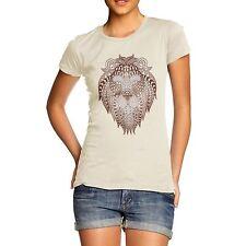 Twisted Envy Women's Tribal Lion Head Printed Cotton T-Shirt
