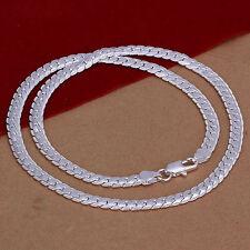 Collier serpent chaîne plaqué argent 925 homme femme maille creuse de 5mm 50cm