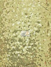 MINI DISC SEQUIN NYLON MESH FABRIC - Golden Yellow - BY THE YARD DRESS PROM GOWN