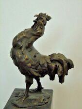statue d un coq en bronze signé sur marbre , bronze animalier