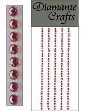 165 x 3mm Light Pink Diamante Self Adhesive Strips Rows Rhinestone Craft Gems