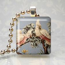 VINTAGE TURNER COCKATOO EXOTIC BIRD PARROT Scrabble Tile Pendant Jewelry Charm