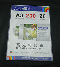 New 20 Sheets 230gsm A3 High Glossy Inkjet Photo Paper 5760dpi Water-Resistant