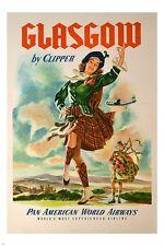 GLASGOW vintage travel poster KILT HAT SCOTTISH traditional dance 24x36 NEW