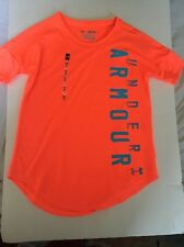 UNDER ARMOR GIRL YOUTH ACTIVE T-SHIRT SIZE M YOUTH POLYESTER NEON ORANGE