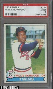 1979 Topps #274 Willie Norwood Minnesota Twins PSA 9 MINT