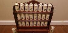 LENOX Porcelain Spice Garden Spice Jars Set of 24 Wooden Wall Rack Vintage 1992