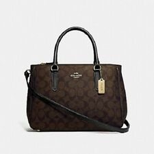 New Authentic COACH F67026 Surrey Carryall Handbag Purse Signature Brown Black