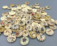 DIY 100X Wooden Buttons Mixed clock pattern Fit Sewing Scrapbooking 2-holes 15mm