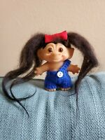"Troll Doll, DAM, Glass Eyes, 3"", 1960s, Long Brown Hair (Mohair?), Amber Eyes"