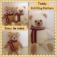 KNITTING PATTERN - Toy Teddy Bear Soft toy for beginners. Email Delivery