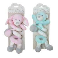 Hugs & Kisses Baby Spiral Plush Toy Rattle Pink Bunny Mint Bear 29cm Crib Pram