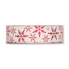 Sateen Ribbon with Printed Red Snowflake Motif 25mm wide x 20m Made in Germany