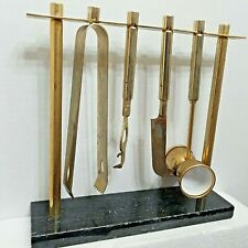Vintage Mid-Century Deco Goldplated Shelton-Ware Bar Tool Set w/ Marble Stand