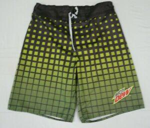 Mountain Dew Mens Size Large Green Gray Board Shorts Swim Trunks 2014