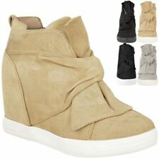 Womens Ladies Mid High Heel Wedges Trainers Hi Tops Bow Sneakers Knot Shoes Size