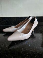 Manolo Blahnik BB Nude Tan Leather Pointed Kitten Classic Heels Pumps Size 38