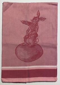 Williams Sonoma Pink Cotton Kitchen Tea Towel Rabbit Easter Bunny NEW