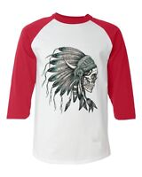 Headdress Skull Baseball Raglan T-Shirt Indian Native American Pride Indigenous