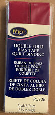 """Wright's QUILT BINDING 7/8"""" Double Fold Bias Tape, 3 yards~706-087 BRICK RED"""