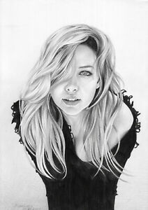 original drawing A4 7KN-Q art samovar Pencil realism female portrait Signed 2021
