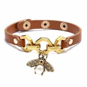 Luxury Bee Bracelets Pendant Charms Bangle Women Punk Brown Leather Jewelry Gift