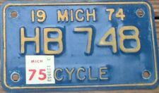 MICHIGAN Vintage 1974 1975  Motorcycle Cycle License plate  HB 748
