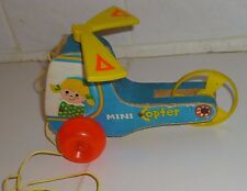 1970 Vintage FISHER PRICE Pull Toy MINI COPTER #448 made in USA