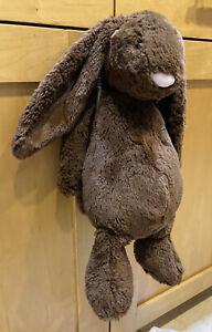 "Jellycat Bashful Chocolate Bunny Rabbit Plush Stuffed Brown 15"" Lovey Pink Nose"