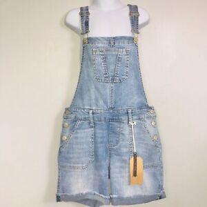 Hippie Girl Overalls SZ 12 Blue Winnifred Triple Button Cuff Shortall Indigo New
