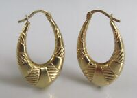 9ct Gold Earrings - 9ct Yellow Gold Hollow Oval Hooped Patterned Earrings