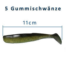 5 Gummifische 11cm Shads Gummischwanz Dorsch Heilbutt Angeln Angelhotspot X5