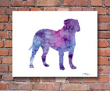 Bullmastiff Contemporary Watercolor Art Print by Artist Djr