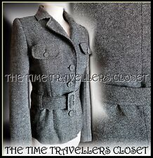 Kate Moss Topshop Grey Wool Tweed Thick Winter Belted Suit Jacket Lined UK 10 12