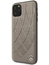 Mercedes Benz iPhone 11 Pro Hülle Quilted Genuine Leather Case Cover Braun