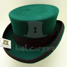 VINTAGE Wool Felt Men Top Hat Coachman Tuxedo Victorian Topper | Green | M L XL