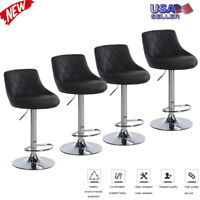 Set of 4 Counter Height PU Leather Bar Stools Adjustable Swivel Pub Dining Chair