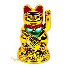 """Maneki Neko Beckoning Cat Gold Wealth Lucky Charm Waving Kitty Feng Shui 4"""" Tall"""